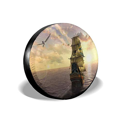 Alger Leigh Spare Tire Cover Ship Wallpaper Waterproof Dust-Proof Wheel Covers for Car/Trailer/RV/SUV/Truck/Boat/Motorhome 17 inch
