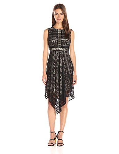 London Times Women's Sleeveless Midi Lace Fit & Flare Dress w. Asymetrical Hem, Black/Nude, 8 ()