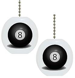 Set of 2 Billiards Eight 8 Pool Ball Solid CERAMIC Fan Pulls