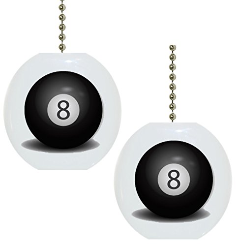 Set of 2 Billiards 8 Pool Ball Solid Ceramic Fan ()