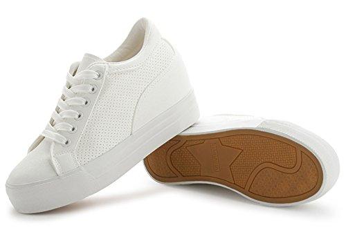 Low Sneakers Classic E Bianca Zeppa Pu Top Uppers Ladies Vecjunia Lacci Nascoste Con zY7xI5