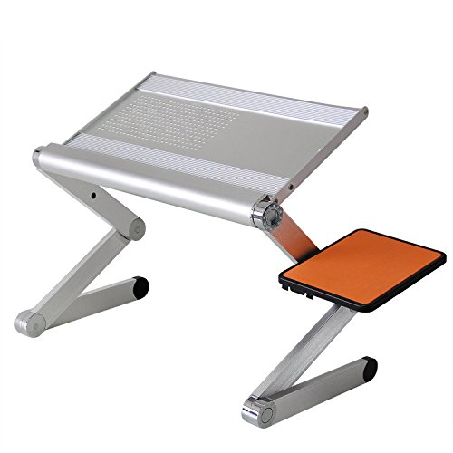 Powseed Extra Wide Laptop Notebook Computer Portable Aluminum Tray Desk Table Stand Adjustable w/Mouse Pad Light Weight for TV Bed Lap Sofa Office Using