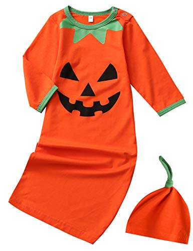 Halloween Costumes For Newborn Girls (Dramiposs Newborn Baby Boys Girls Halloween Pumpkin Costume Sleepers Infant Layette Sets with Hat (Orange,0-3)