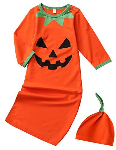 Newborn Girl Costumes (Dramiposs Newborn Baby Boys Girls Halloween Pumpkin Costume Sleepers Infant Layette Sets with Hat (Orange,0-3)