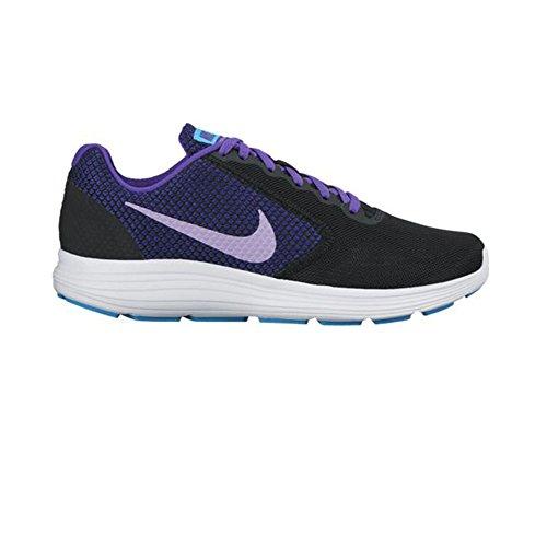 Nike Womens Revolution 3 Scarpa Da Corsa Nero / Urbano Lilla / Viola Intenso