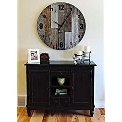 Extra Large 36-inch Papa Bear Reclaimed Wood Wall Clock. Oversize Giant Wooden Farmhouse Clock with Natural Brown and Grey Weathered Barn Wood.