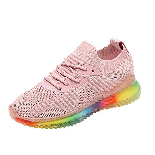 Women's Running Sneakers Casual Rainbow Jelly Soles Breathable Woven Shoes Summer Athletic Lightweight Walking Shoes (Pink, US:6) ()