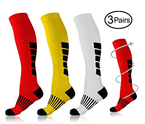 Yellow & White & Red Compression Socks 3 Pairs for Men & Women Sports Compression Stockings (15-25 mmHg) Fit for Running Sports Football Athletic Travel Pregnancy Swelling ()