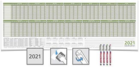 Personalplaner/Urlaubsplaner 2021, feucht abwischbar 118,8 x 42,0 cm für 16 Mitarbeiter grün mit 4 non-permanent Marker