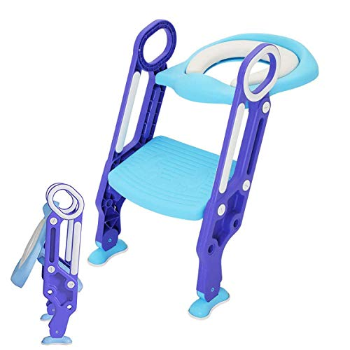 Adjustable Potty Training Seat Toilet with Step Stool Ladder Baby Toddler Kids Soft Toilet Seats for Boy and Girl Toilet Training Seat Chair With Ladder Step Stool ()