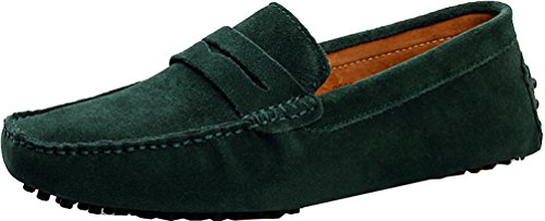 Abby Mens QZ-2088 Fashion Comfort Cozy Cosiness Message Chirismus Driving Flat Leather Shoes Green h39GfesAIy