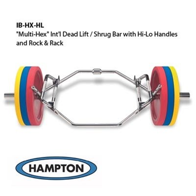 Multi Hex International Dead Lift / Shrug Bar with Hi Lo Handles And Rock and Rack