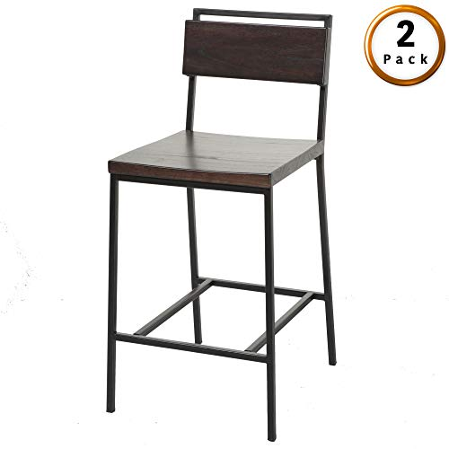Fashion Bed Group Olympia Counter Stool with Black Matte Finished Metal Frame, Footrest and Black Cherry Colored Wood, 26-Inch Seat Height, 2-Pack ()