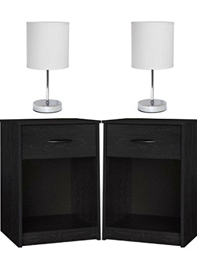 Set of 2 Nightstand MDF End Tables Pair Bedroom Table Furniture in Ebony Finish with Set of 2 Lamp Bundle Set! -