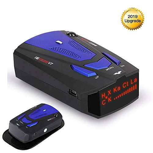 RICHOYY Radar Detector, Voice Prompt Speed, City/Highway Mode Radar Detector for Cars (FCC Certification). (Blue)