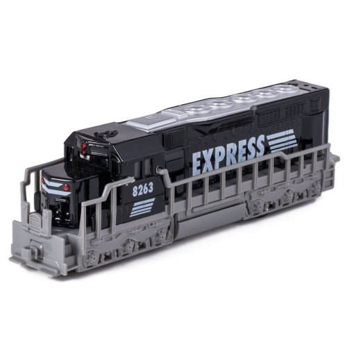 (7 Black Die Cast Freight Train Locomotive Toy with Pull Back Action by Kinsmart)