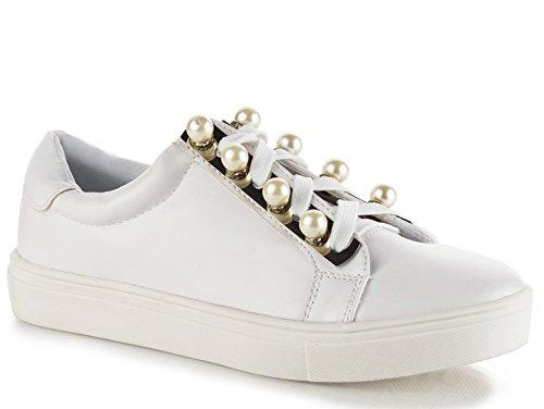Cape Robbin Mode Perle Embelli Dentelle Lacer Haut Bas Sneaker Blanc Pu