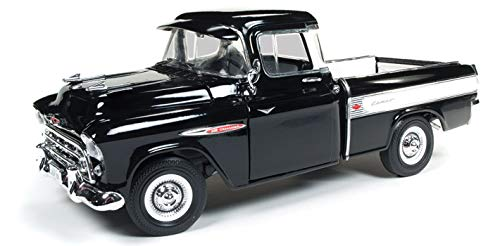 1957 Chevrolet Cameo 3124 Pickup Truck Onyx Black 100th Anniversary Limited Edition to 1002 Pieces Worldwide 1/18 Diecast Model Car by Autoworld AMM1145