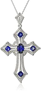 Sterling Silver Oval and Square Shaped Created Ceylon Sapphire Cross Pendant Necklace