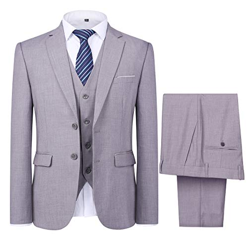 Mens 3 Piece Suit Set 2 Button Dress Suit Jacket Vest Pants for Meeting Prom Party