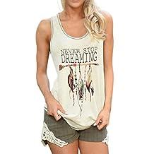 Kimloog Women Never Stop Dreaming Feather Print Sleeveless Tank Tops Casual Vest Tee Shirt