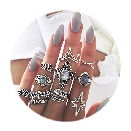 Star Vintage Flower (Gudukt 11Pcs Vintage Knuckle Ring Set Flower Star Rings Boho Crystal Joint Knuckle Nail Midi Ring Set)