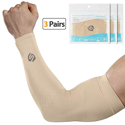 - SHINYMOD Cooling Sun Sleeves 2019 Newest Upgraded Version 1 Pair/ 3 Pairs UV Protection Sunblock Arm Tattoo Cover Sleeves Men Women Cycling Driving Golf Running-(3 Pair Beige)