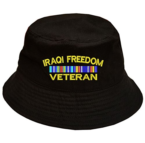 Military IRAQI Freedom Veteran Ribbon Logo 100% Cotton Black Bucket Cap ()