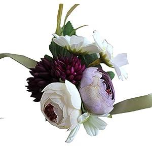 MOJUN Silk Flower Corsage Wrist Flower Artificial Bridal Bridesmaid Flowers for Wedding Prom Party Decoration 3