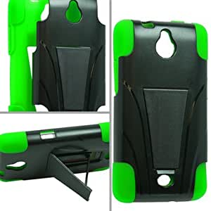 Black Green Trifecta Hybrid Gel Case w/ Stand for Huawei Ascend Plus/Valiant + Keychain Tool