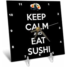 3dRose dc_173313_1 Keep Calm and Eat Sushi. Black. Desk Clock, 6 by 6-Inch