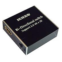 HUIERAV HDMI 2.0 Ultra HD 4Kx2K/60Hz HDMI Switch| HDMI 2 Ports Bi-direction Manual Switch 2x1 or 1x2 AB Switch Splitter