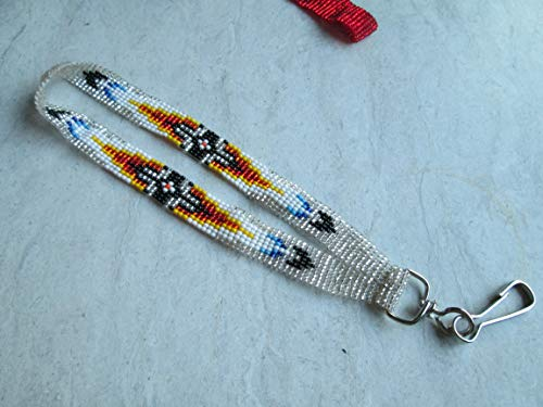 (wristlet key chain keys key holder silver feather southwest Indian design Hand beaded Guatemalan central american Native I.D. ID badge holder tag lanyard fair trade glass seed bead Aztec Ethinc)