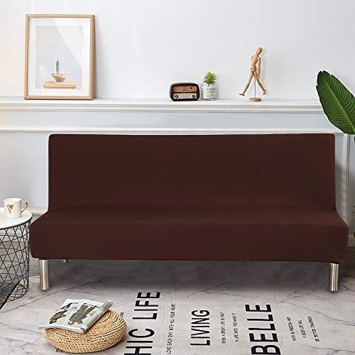 Dightyoho Funda de Sofa Cama sin Brazos, Cubierta para Sofa de 3 Plazas sin Reposabrazos Elastico Plegable Moderno de Color Solido (190-210cm, Marron)