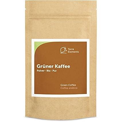 Terra Elements Bio Grüner Kaffee Pulver 200 g I 100% Arabica I Gefriergetrocknet I 100% rein I Vegan I Rohkost
