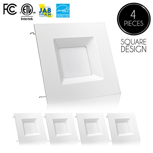Square Recessed Lighting Trim ((4 Pack)- 6-inch LED Square Downlight Trim, 15W (100W Replacement), Square Recessed Light, Dimmable, 5000K (Day Light), 1040LM, ENERGY STAR, Retrofit LED Recessed Lighting Fixture)