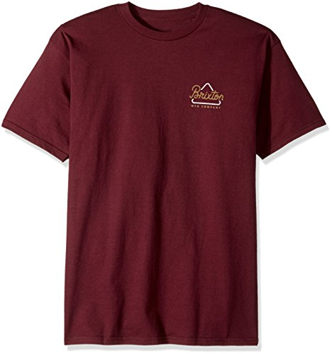 Brixton Men's Newbury Short Sleeve Standard Fit Tee, Burgundy, - Street Newbury Shops
