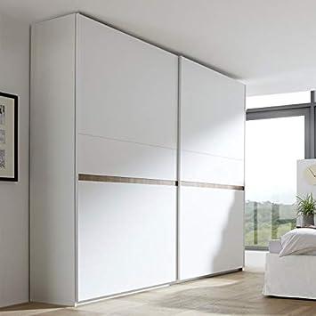 Tousmesmobili - Armario de 2 Puertas correderas, Color Blanco y Nogal Claro – Anice n.º 2 – 275 x 64 x 248: Amazon.es: Hogar