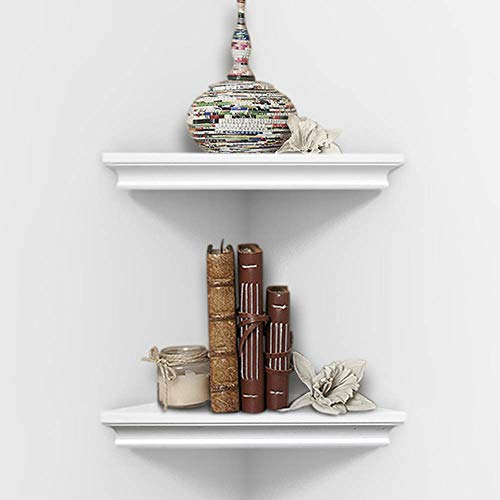 AHDECOR White Corner Wall Shelves, Wall Mounted Floating Corner Shelf for Home Décor, 2-Pack ()
