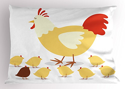 Lunarable Mothers Day Pillow Sham, Illustration of a Sweet Chicken Family with Little Chicks, Decorative Standard Queen Size Printed Pillowcase, 30 X 20 inches, Pale Yellow Vermilion and Brown