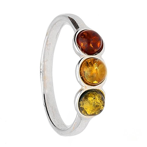 KAB COGNAC BALTIC AMBER GEMSTONE & STERLING SILVER 925 BEAUTY STONE RING R.16 (7)