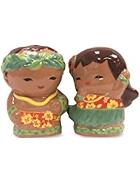 Investment Ceramic Salt & Pepper Shaker Set Hula Keiki by Welcome To The Islands dispense