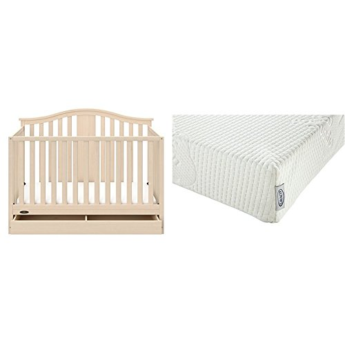 Natural Crib Drawer - Graco Solano 4 in 1 Convertible Crib with Drawer, Whitewash with Graco Natural Organic Foam Crib and Toddler Mattress