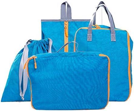 トラベルポーチ 4セット防水ポリエステルパッキングキューブ値セット用旅行荷物オーガナイザーバッグ圧縮ポーチ服スーツケース複数色 (Color : Blue, Size : Free Size)