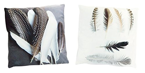 Melrose Set of 2 Boho Feathers Velour Accent Pillows (Velour Square)