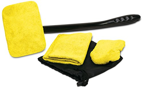 (Auto Glass Cleaner Wiper Keeps Cars Vehicles Interior Exterior Windshields Windows Clean - Includes Long Handle Cleaner, 2 Wipes, Hand Cloth, and Storage Pouch)