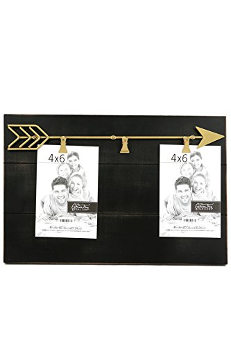 (Green Tree Gallery Wood Panel Style Clip Frame with Gold Arrow, Black, 3)