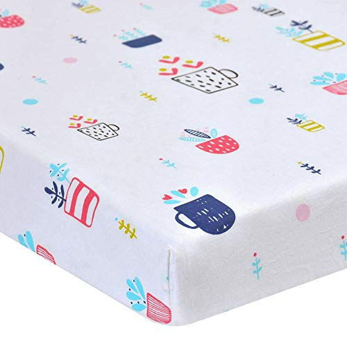 AOLVO Fitted Crib Sheet,130x70cm 100% Cotton Soft Breathable Printed Toddler Crib Mattress Topper Cover Sheet Toddler Nursery Bedding Sheet (Cheap Cot Bed Mattress 140 X 70)
