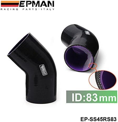 EPMAN Tubo de silicona para codos 38 mm, 1,5 pulgadas, 3 capas, 45 grados