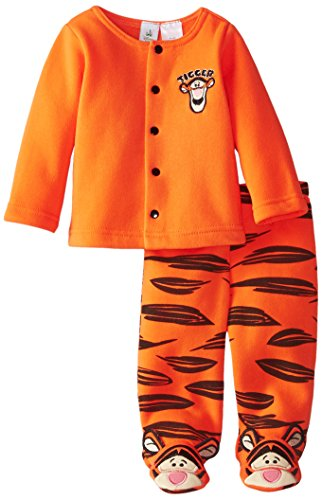 Disney Baby Baby-Boys Newborn Tigger Fleece Jacket Pant Set with Footies, Orange, 3-6 Months (Baby Tigger)